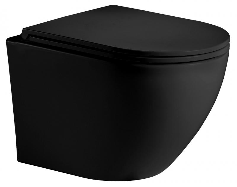 Унитаз подвесной WeltWasser MERZBACH 004 MT-BL 49х37 см, безободковый, черный матовый - купить в интернет-магазине Сантехтоп.ру